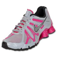 Nike Shox Turbo+ 13 Women's Running Shoes | FinishLine.com | Wolf Grey/Fireberry/Black/Silver