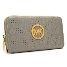 Michael Kors Perforated Logo Large Grey Wallets