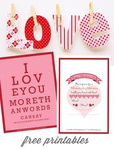 FREE Valentine Printable Downloads