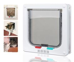 BleuMoo 4 Ways Locking White or Brown Frame Magnetic Pet Cat Small Dog Flap Door *** More info could be found at the image url. (This is an affiliate link and I receive a commission for the sales)