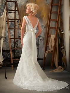 Trumpet/Mermaid Bowknot Sash /Ribbon Applique Lace Wedding Dress (back view) - Storedress.com