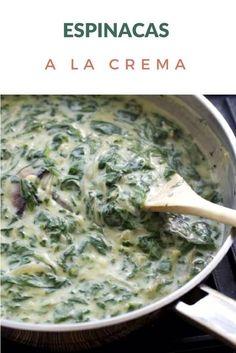 Receta sencilla de Espinacas a la crema, hechas con salsa blanca. Pueden usar espinacas frescas o congeladas.