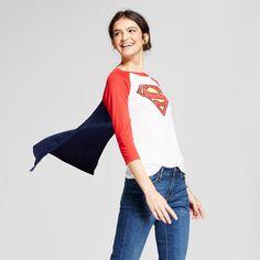Women's DC Comics Superman Halloween Graphic Cape T-Shirt (Juniors') - White Xxl