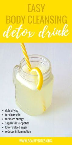 Easy Anti-Inflammatory Detox Water For Flat Belly And Clear Skin - Beauty Bites . - Easy Anti-Inflammatory Detox Water For Flat Belly And Clear Skin – Beauty Bites Einfaches entzü - Water Recipes, Detox Recipes, Juice Recipes, Health Drinks Recipes, Smoothie Recipes, Salad Recipes, Detox Water For Clear Skin, Foods For Clear Skin, Digestive Detox