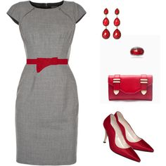 Outfit in red & gray
