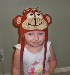 Crocheted Monkey beanie with ear flaps by TheSewingPassionista, $22.00
