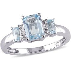 Tangelo 1-1/2 Carat T.G.W. Blue Topaz and Diamond-Accent 10kt White Gold Three-Stone Ring, Size: 6