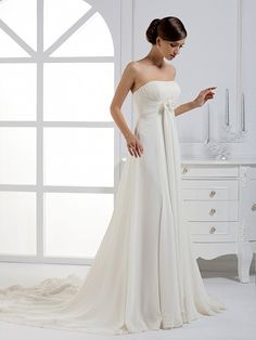2012+Fall+Strapless+Chiffon+over+Satin+bridal+gown+with+Empire+waist $453.00