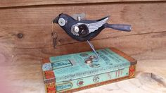 Hand carved assemblage art bird mixed media by Twistedcopperforest