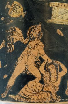 Lycurgus, driven mad by Dionysos, attacks his wife - detail from an Apulian red Vase figure calyx-krater, circa BCE - at the British Museum Ancient Myths, Ancient Rome, Ancient Greece, Ancient Art, Greek Gods And Goddesses, Greek And Roman Mythology, Ancient Greek Clothing, Hellenistic Art, Middle Eastern Art
