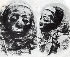 """21st Dynasty Theban Royal Mummies from DB320. Photos of Princess Nestanebtishru taken by Emile Brugsch in 1886, reproduced in MA [1958,] 125-126) G. E. Smith describes this mummy as """"one of the finest specimens of the embalmer's art in the..."""