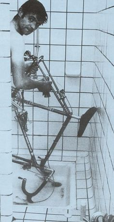 "Perfect. ildolore: "" José Manuel Fuente Lavandera washing his bike in the shower like I do. """