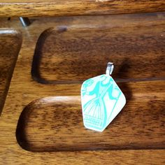 Farmer Woman pendant made from a broken Vintage Pyrex bowl in Butterprint. (1957) #PyrexJewely by @DivineSpiritCreations   https://www.etsy.com/listing/261594625/turquoise-amish-butterprint-pyrex