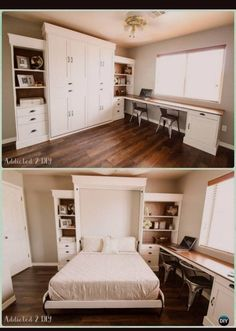 """Awesome """"murphy bed ideas ikea apartment therapy"""" info is offered on our internet site. Take a look and you will not be sorry you did. Murphy Bed Desk, Murphy Bed Plans, Farmhouse Murphy Beds, Modern Farmhouse, Farmhouse Style, Roll Out Bed, Murphy-bett Ikea, One Room Flat, Space Saving Beds"""