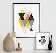 Abstract print geometric art scandinavian print abstract by handz