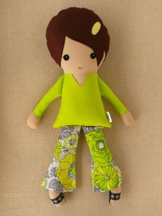 Fabric Doll Rag Doll Girl in Lime Green Top and by rovingovine, $34.00