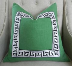 Decorative Designer pillow cover - 20X20 - Solid heavy weight linen in kelly green with attached greek key trim