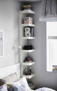 Tall Minimalist Corner Shelves