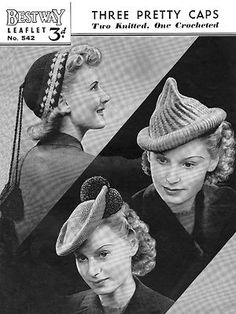 Knitting Crochet Pattern 1940s Hats caps vintage wartime