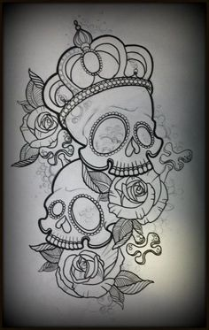 Noble Sugar Skulls Tattoo Designs