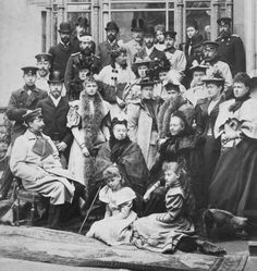 "The ""Royal Mob"" - Queen Victoria and family at Coburg on 21 April 1894, assembled for the wedding of Princess Victoria Melita of Saxe-Coburg and Gotha and Ernest Louis, Grand Duke of Hesse, both grandchildren of Queen Victoria. The wedding took place on 19 April 1894. The group includes members of the Prussian and Russian royal families."