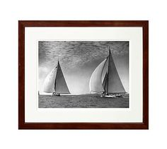 """New York Times Archive Framed Photography, Yacht Racing in Falmouth - 1934, 18 x 15"""", Espresso"""