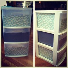plastic drawers covered in paper