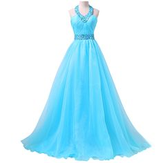 Fashionable Halter Prom Dress with Ruching Detail, Blue Chiffon Prom Gowns with Sweep Train, Beaded Prom Dresses