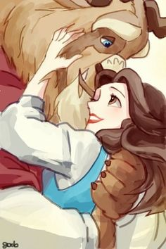 Hug by ~godohelp on deviantART  Beauty and the Beast - Belle Disney Romance watercolour Digital Art