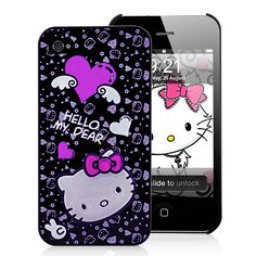 Cute Hello Kitty Pattern Hard Case For iPhone 4S - Black