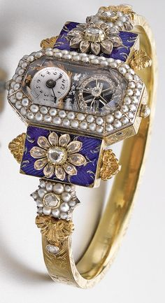 CIRCA 1830 LADY'S GOLD, ENAMEL, PEARL, AND DIAMOND-SET WATCH with exposed balance and later bangle. - key wound and set • octagonal table with eccentric white enamel dial, with exposed diamond-set balance, painted enamel scene of doves and flowers • pearl-set bezel, the underside with sliding gold panel revealing the winding and setting squares with engraved instructions • associated gold and enamel bangle with diamond-set flower motif • unsigned