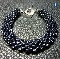 ♥ Charming Very Shiny Black Weaved Glass Plated Silver  Bracelet #Bracelet