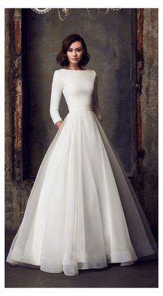 Long Sleeve Wedding, Modest Wedding Dresses, Wedding Dress Styles, Sleeve Wedding Dresses, Vintage Wedding Dresses, Rockabilly Wedding Dresses, Reception Dresses, Long Sleeve Gown, Vintage Gowns
