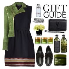 """Green Gift 🎁🎄"" by sellyankumala ❤ liked on Polyvore featuring RED Valentino, Balmain, Cartier, BUSCEMI, Yves Saint Laurent, Hervé Gambs, Boohoo, AMBRE, Origins and Tata Harper"