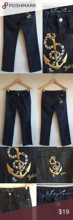 JUICY COUTURE 💗 Jeans, Anchor Rhinestone Bling 26 Cute!  Pre-owned!  Some of the rhinestone/strings are coming up/off of the design on the back pocket, as pictured in the last photo.  Priced to sell! A11 Juicy Couture Jeans