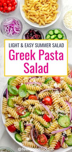 Greek Pasta Salad Is A Light, Fresh And Easy Summer Salad Full Of Sweet Tomatoes, Crisp Cucumbers, Olives And Feta Cheese All Tossed In A Homemade Dressing Summer Salads Vegetarian Recipes Greek Food Easy Salad Lunch Picnic Food Potluck Food Vegetarian Picnic, Vegetarian Recipes Easy, Healthy Recipes, Healthy Dishes, Healthy Meals, Easy Summer Salads, Easy Salads, Summer Lunches, Summer Salad Recipes