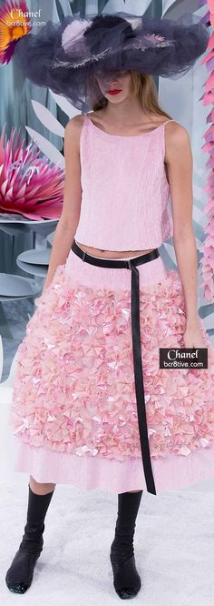 Chanel Pink 3D Floral Skirt