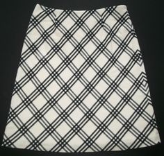 Kate Hill Ivory/Black Plaid Wool Skirt-Womens-Sz 14 #KateHill #ALine