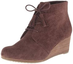 99fe1f257 Scholl's Women's Dakota Boot Dakota,DK M US. Faux suede ankle boot with  lace-up vamp and stacked wedge heel.