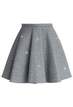 Crystal Grace Wool Skirt in Grey