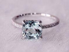 8mm Cushion Cut VS Aquamarine Ring Micro Pave H/SI Diamond Engagement Ring 14K White Gold Wedding Ring/ Promise Ring/ Anniversary Ring