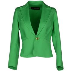 DSQUARED2 Blazer (270 CAD) ❤ liked on Polyvore featuring outerwear, jackets, blazers, green, 3/4 sleeve jacket, dsquared2 jacket, stretch cotton blazer, cotton blazer and lapel jacket