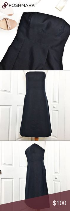 """Ann Taylor Strapless Dress Classic, elegant strapless dress by Ann Taylor.  Navy blue in color in a strapless design.  Does have straps attached if needed.  Perfect for a summer wedding, date night, or any occasion you choose.  Side zip with hook eye closure.  Has adjustable strap for fit.   Material tag has been listed.  Measurements laid flat: Bust:  16"""" Waist:  14.5"""" Hip: 20"""" Length from top bust to hem:  33"""" *Measurements are approximate. Ann Taylor Dresses Strapless"""