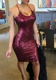 Sexy Halter Low-Cut Sequined Bodycon Women's Dress