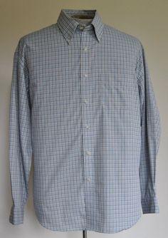 Men's Size L Van Heusen Blue Plaid Dress Shirt 65% Polyester 35% Cotton LS
