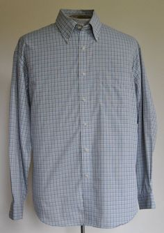 Van Heusen Shirt L Mens Blue Plaid Button-Down Cotton Blend Long Sleeve #VanHeusen free shipping auction starting at$10.99