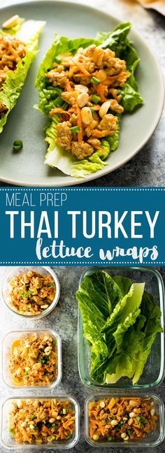 Thai turkey meal prep lettuce wraps make for an easy, low carb meal prep dinner or lunch. Prep the Thai peanut turkey filling ahead and serve on crunchy romaine lettuce leaves.