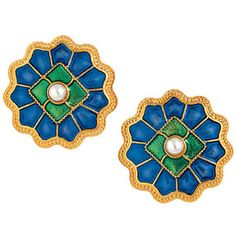 The Met Store -  Medieval Disc Rosette Button Earrings