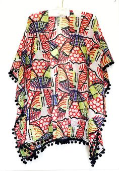 Pompom Kimono.Colorful Designer Print Kimono.Beach by SmithLab