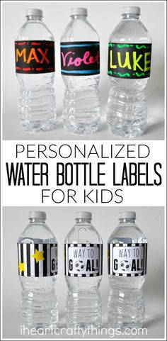 Encourage children to stay hydrated and drink plenty of water with these DIY Personalized Water Bottle Labels for Kids. Printable template included in post. ad